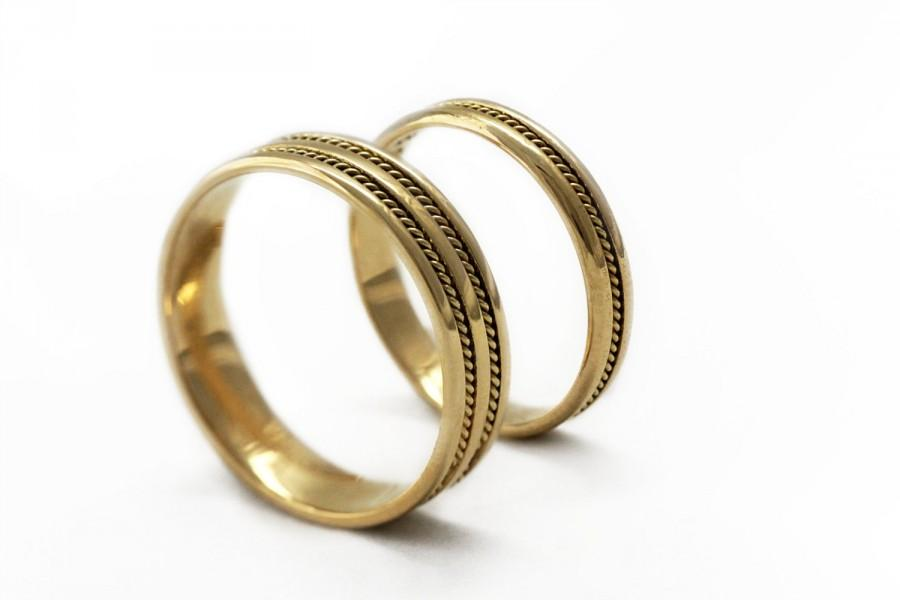 Gold Wedding Ring Sets Braided Bands Band For Men Filigran Handmade Rings Unique Matching