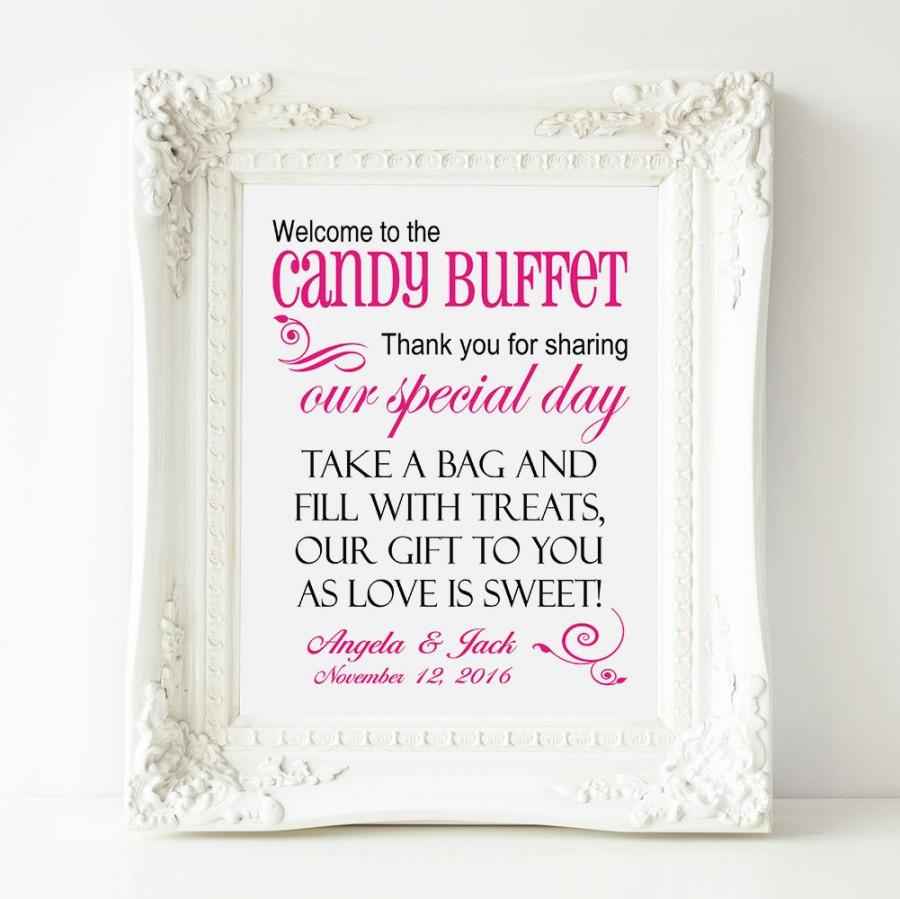 Personalized Welcome To The Candy Buffet Wedding 8 X 10 Sign Printable File Bar Table