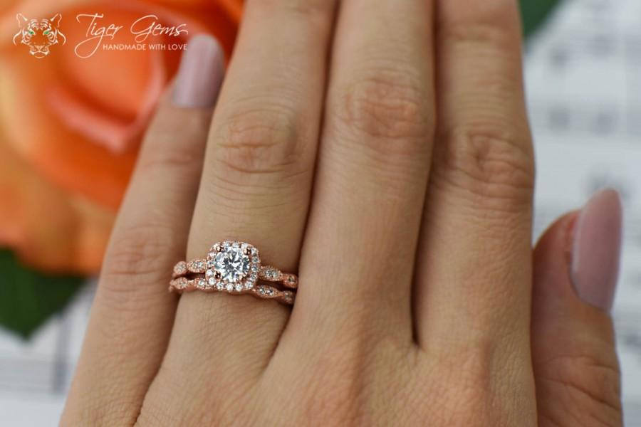 3 4 Carat Halo Wedding Set Vintage Bridal Rings Man Made Diamond Simulants Art Deco Engagement Sterling Silver Rose Gold