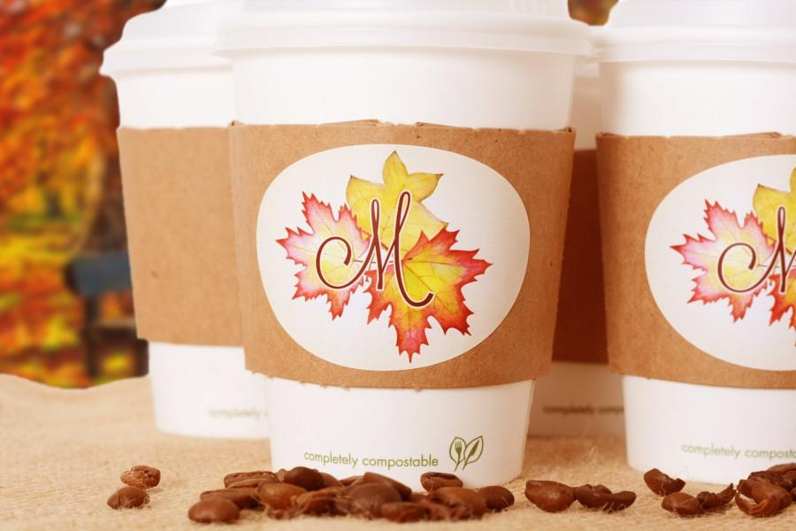 Autumn Wedding Supplies 10 Coffee Cups Lids Hot Sleeves And Personalized Labels