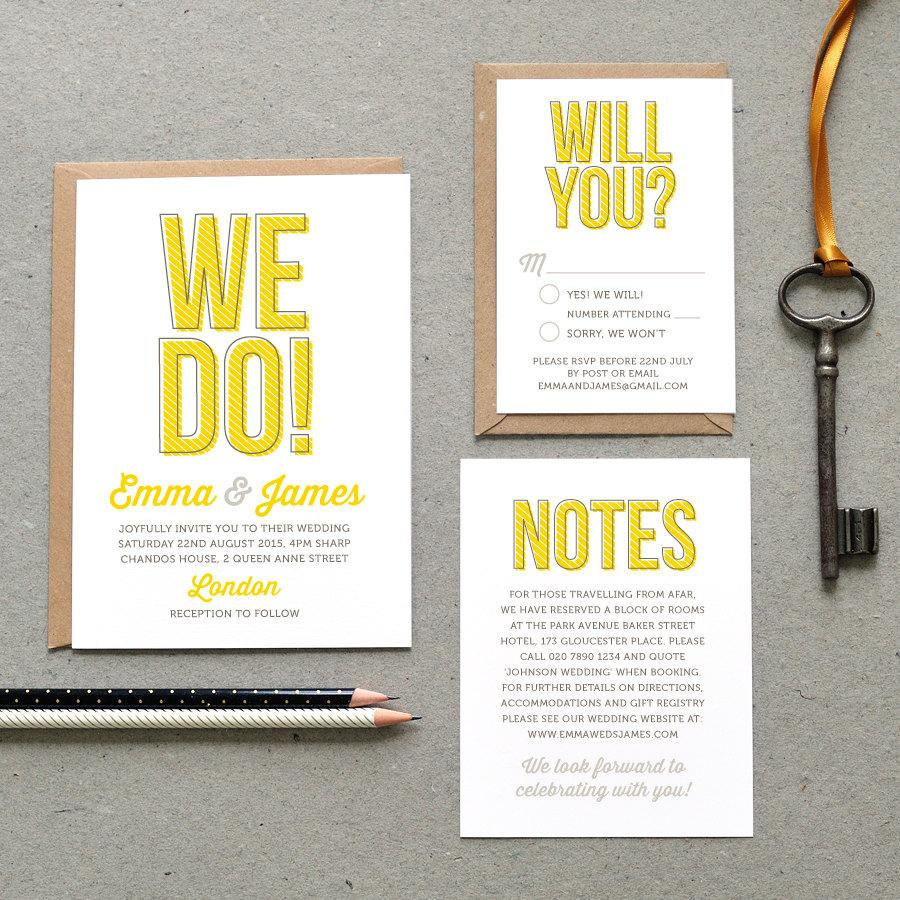 4 Printable Wedding Invitation Pdf We Do Fun Invite Yellow And Grey Or Custom Digital File Only