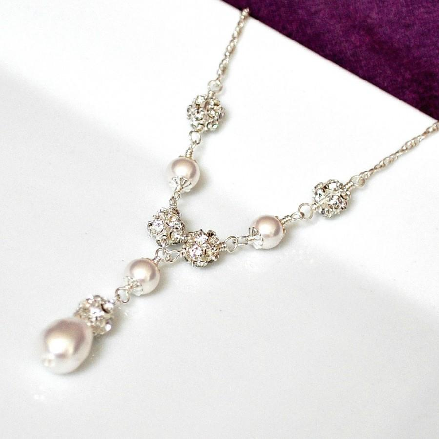 Bridal Necklace Pearl Swarovski Jewelry Wedding Y Sterling Silver