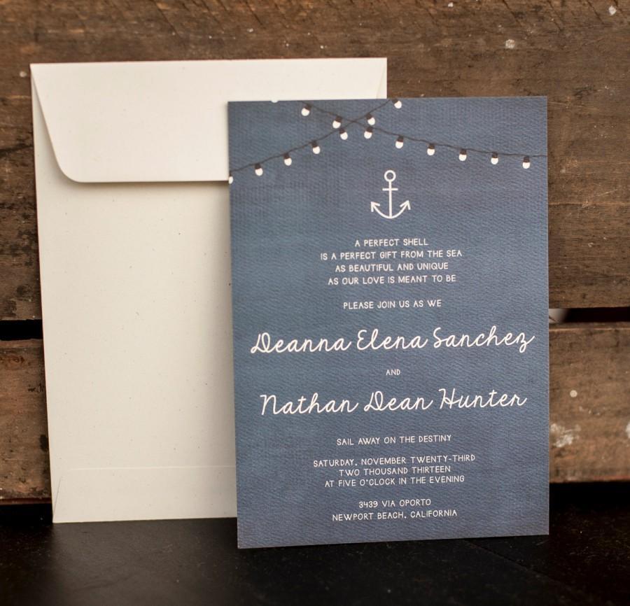 Wedding Invitation Rustic Nautical Blue Anchor The Deanna