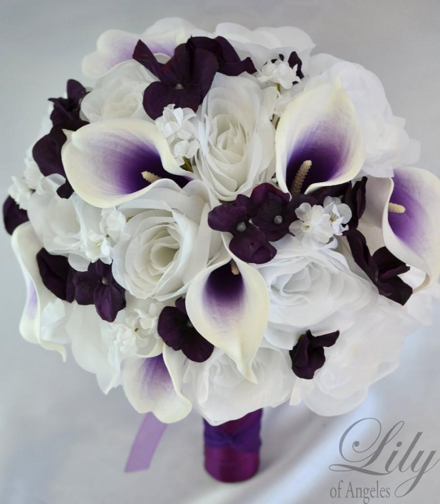 17 Piece Package Wedding Bridal Bouquet Silk Flowers Bouquets Bride Groom Maid Pico Calla Lily Purple Plum White Of Angeles Wtpu04