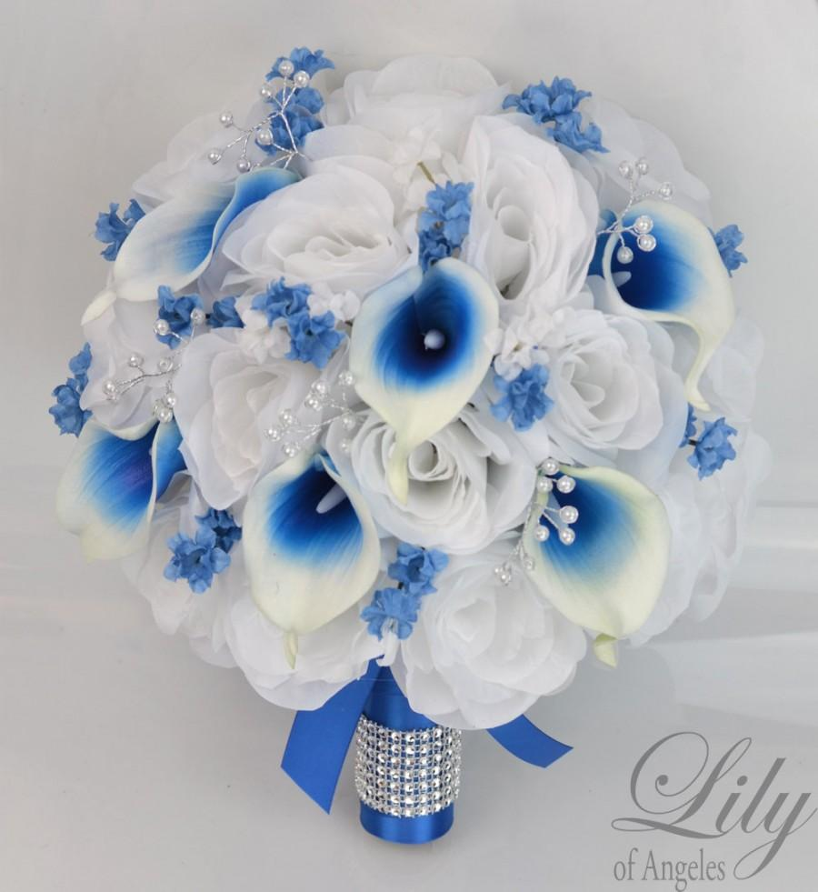 17 Piece Package Silk Flowers Wedding Bouquet Bride Bridal Party Bouquets Decorations Centerpieces White Royal Blue Lily Of Angeles Blwt05