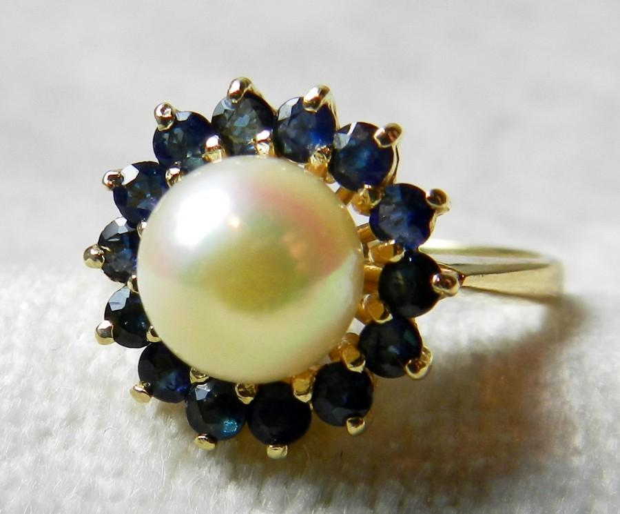 Well-liked Pearl Engagement Ring Unique Engagement Genuine Pearl Blue  KK23