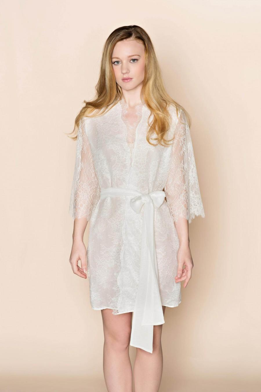 The Odette French Lace Silk Bridal Robe Getting Ready Kimono Lined In Off White