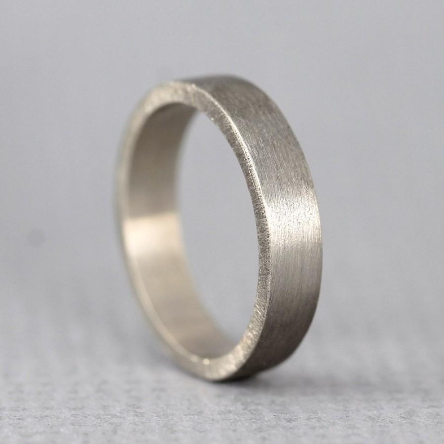 White Gold Men S Wedding Band 14k Matte Finish 4 Mm Wide Mens Ring Made In Canada Commitment