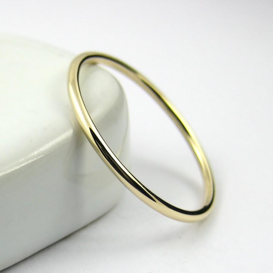 Thin Gold Ring Wedding Band Stacking 9k Solid Dainty Hammered Or Smooth