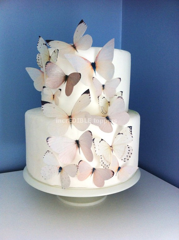 edible wedding cake decals wedding cake topper neutral edible butterflies ivory 13917