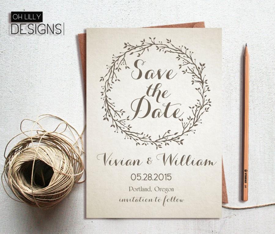 Rustic Save The Date Invitation Printable Te Wedding Card Beige Digital File