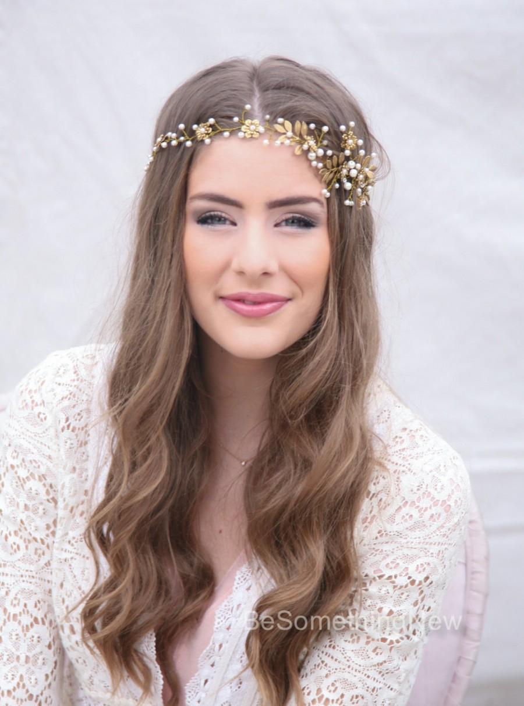 wedding hair vine, brass flower and leaf bridal headpiece, wedding