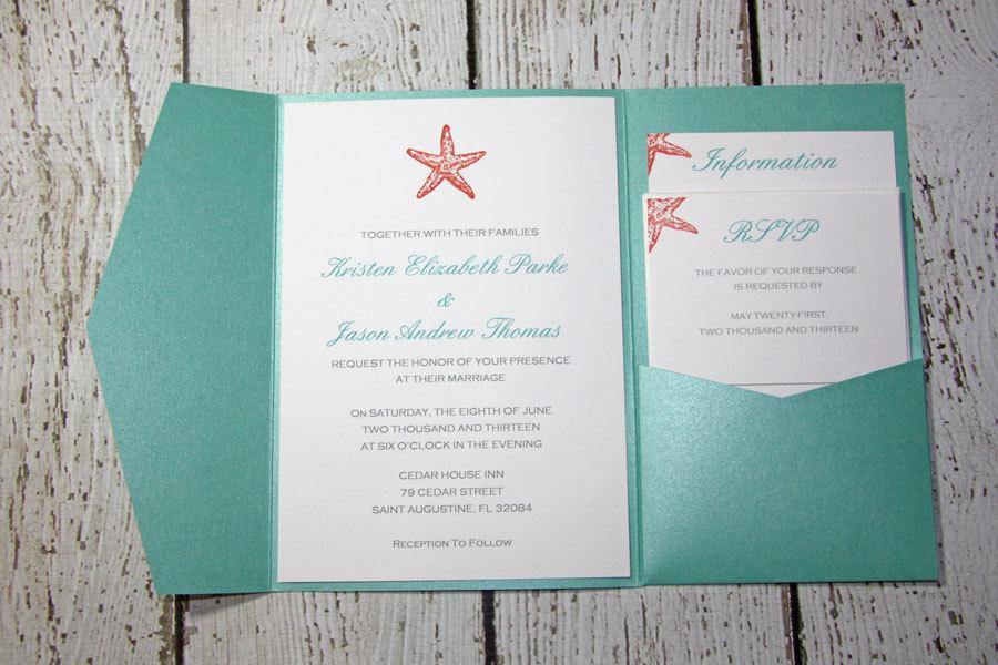 Teal Pocketfold Wedding Invitations Beach Invitation Shimmer Tropical Chelsea Style Deposit To Get Started