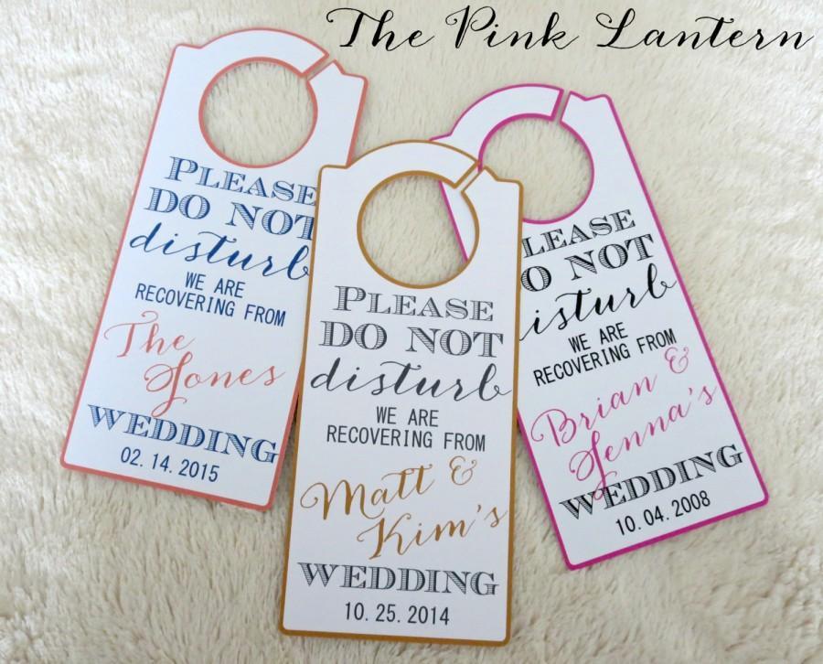 Wonderful DO NOT DISTURB Personalized Wedding Door Hanger - Custom Colors  GS95