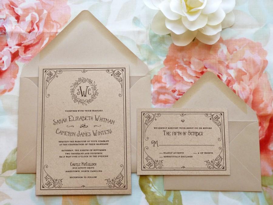 Storybook Ending Kraft Monogram Garden Wedding Invitations Flower Botanical Spring Nature