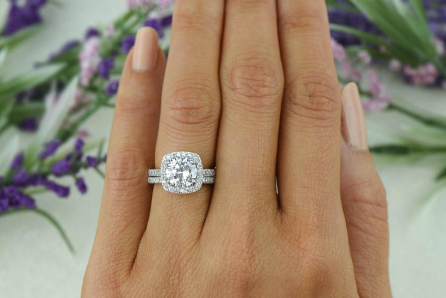 2 25 Ctw Clic Square Halo Engagement Set Man Made Diamond Simulant Half Eternity Ring Bridal Wedding Rings Sterling Silver