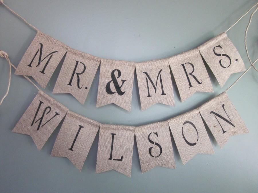 Mr Mrs Banner Wedding Photo Prop Custom Name Garland Personalized Bunting Rustic Chic Burlap