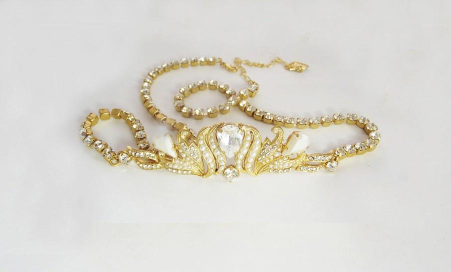 Bridal Wedding Sash Gold Crystal Bride Dress Belt Pearl And Rhinestone Accessories Jewelry