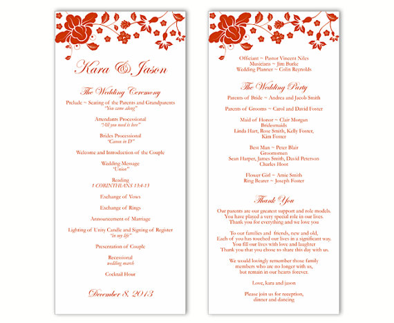 Wedding Program Template Diy Editable Word File Instant Red Fl Printable 4x9 25