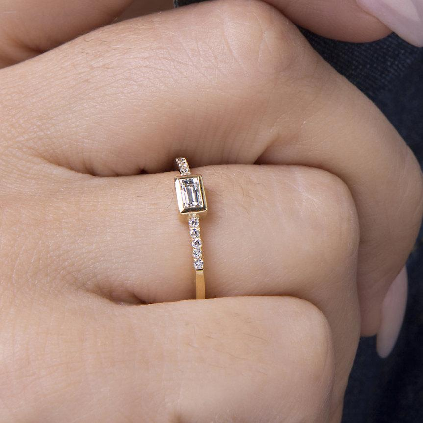 Baguette Diamond Ring Micropave Wedding Engagement Trendy Solid Gold