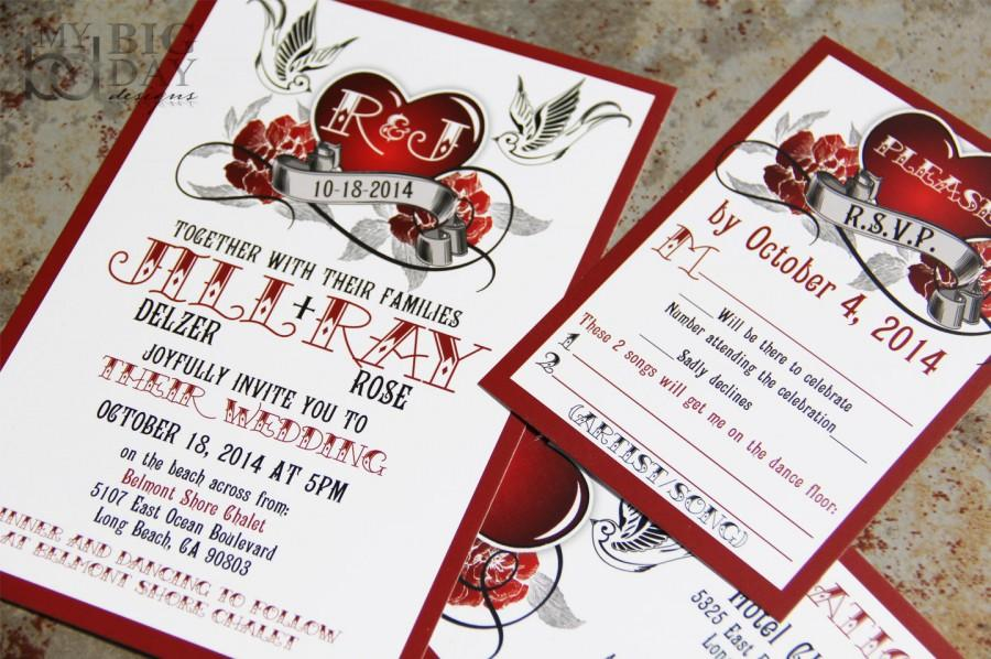 Rockabilly Wedding Invitation Set With Sparrow Lovebirds And Roses Steampunk Heart Invitations