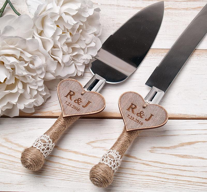 Cake Serving Set Rustic Wedding Cutting Knife Servers Cutter Decoration