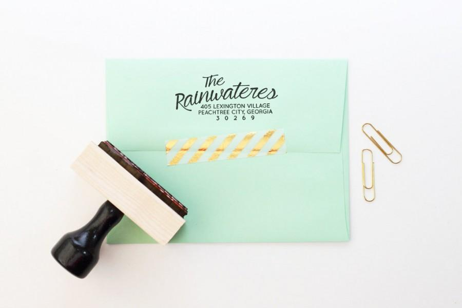 Return Address Stamp Wedding Invitation Rubber Calligraphy Label Personalized Custom Save The Date