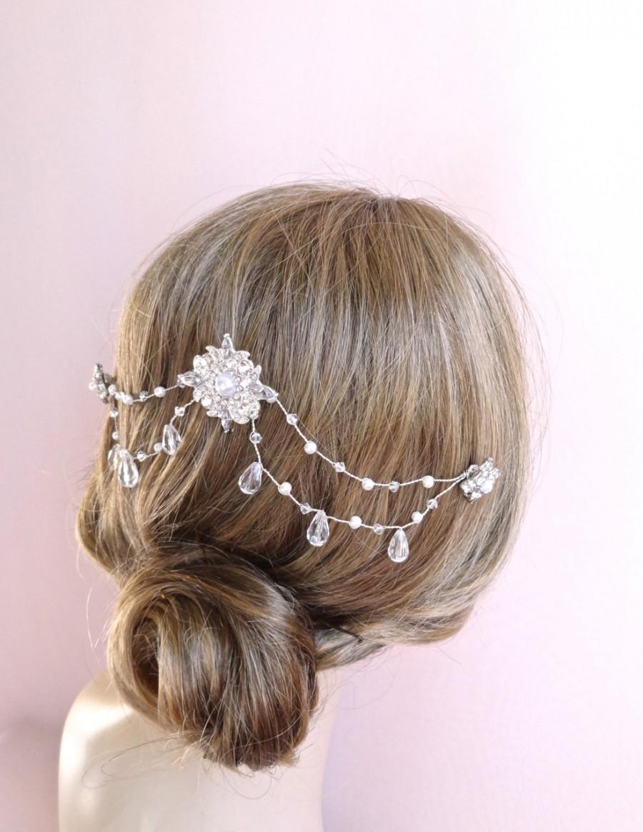 crystal bridal hair chain, headpiece, wedding hair accessories