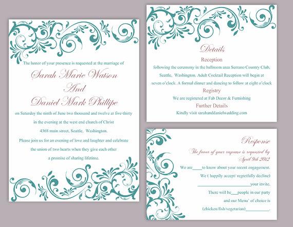 Diy Wedding Invitation Template Set Editable Word File Instant Printable Teal Blue