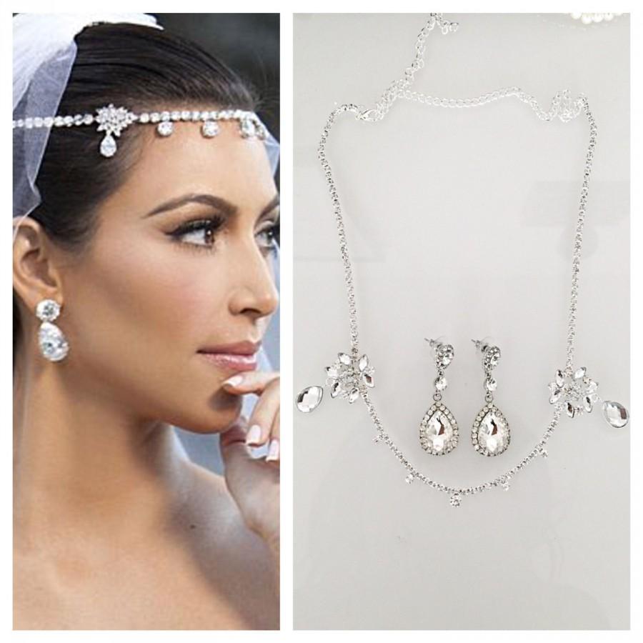 sale! kardashian wedding headpiece earrings set tiara headband