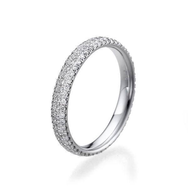 Delicate Wedding Band 14k White Gold Ring 1 Tcw Diamond Womens