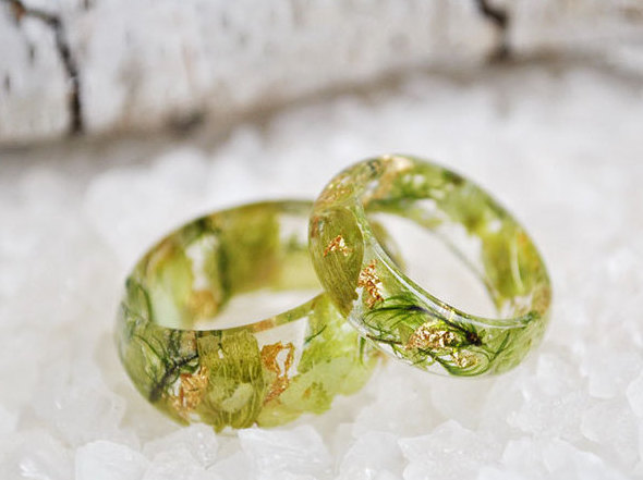 Nature Inspired Engagement Rings Resin Ring Flower Eco Tail