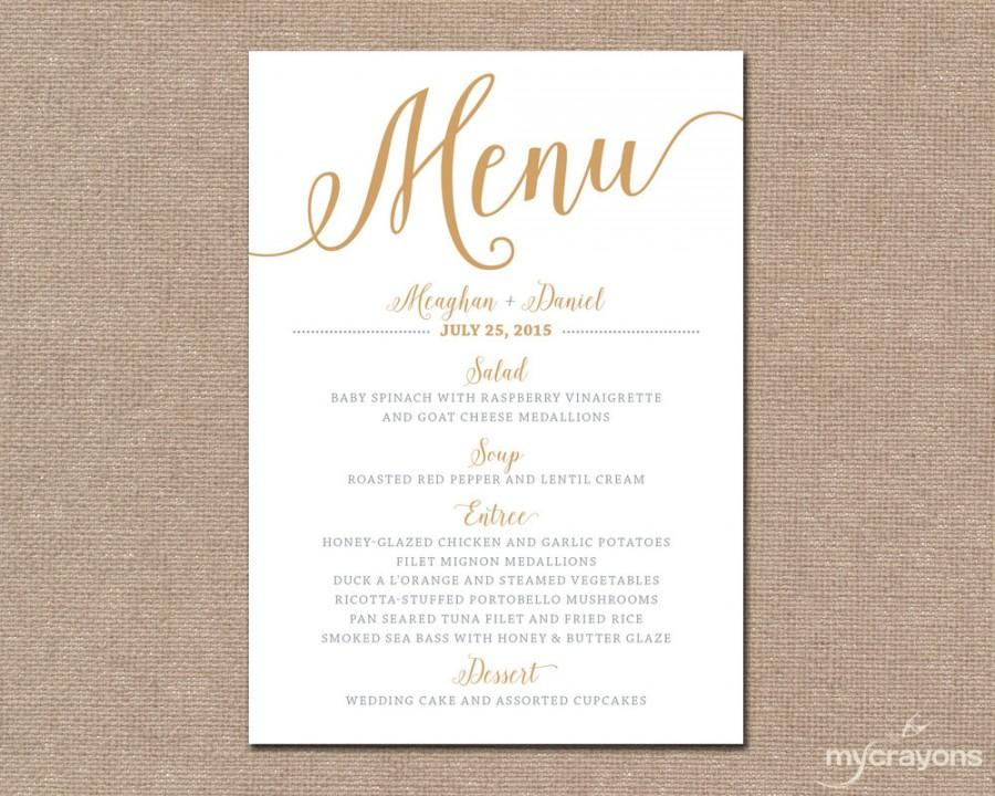 Gold Wedding Menu Card Printable Bella Script Diy Cards