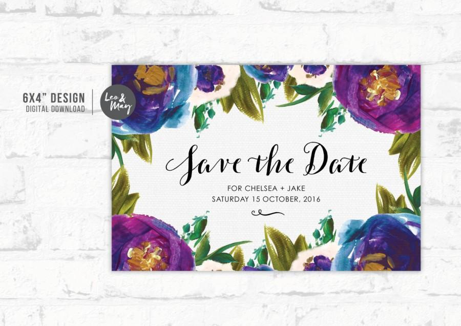 Wedding Save The Date Invitation 6x4 Painted Flowers Personalised Printable Able Design