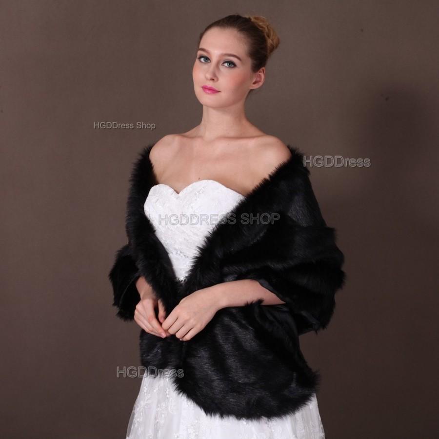 Long Rectangular Faux Fur Shawl Wrap Stole Cape Bridal Black Shrug Wedding