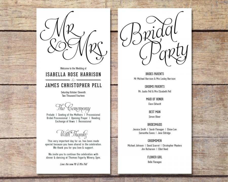 Simple Wedding Program Customizable Elegant Design Clic Black And White Printable Digital