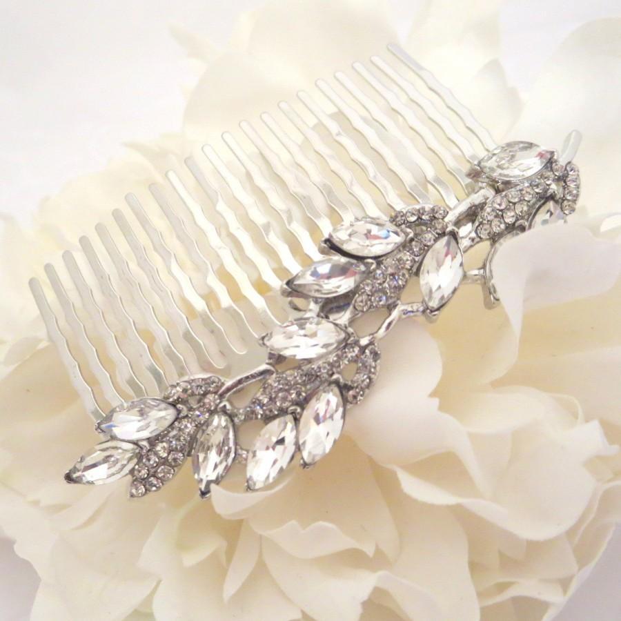 simple wedding hair comb, bridal hair comb, rhinestone hair comb