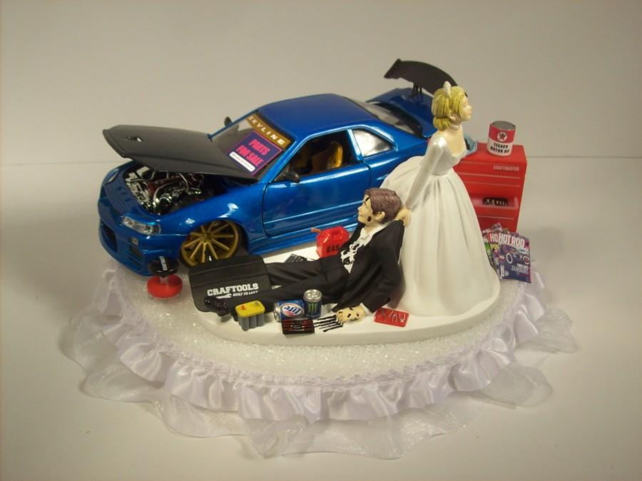 Auto Mechanic Bride And Groom 2002 Nissan Skyline Gtr R34 Blue Car Funny Wedding Cake Topper S