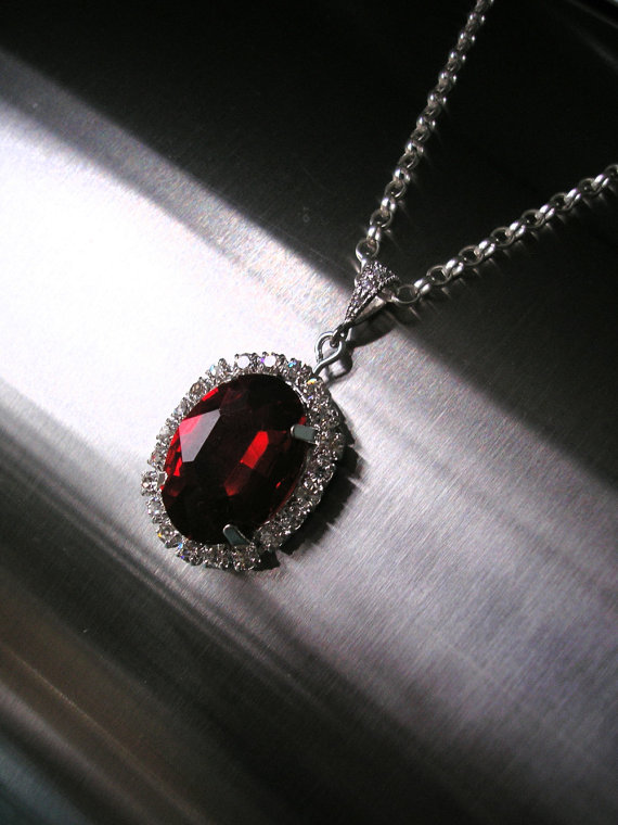 Ruby Pendant Red Rhinestone Necklace Bridal Set Wedding Jewelry Bridesmaid Gift Sterling Silver And Earrings Deco