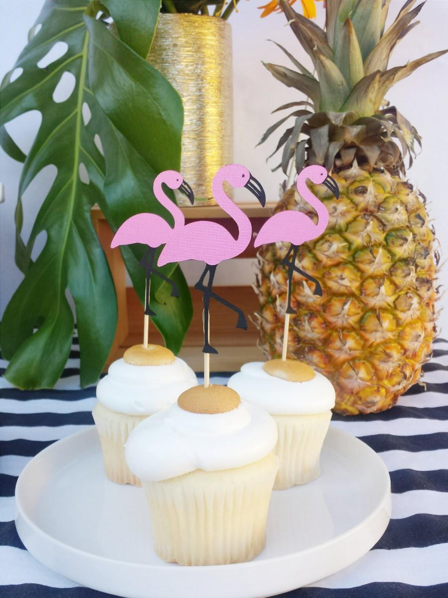 Flamingo Cupcake Toppers Set Of 12 Pool Party Pinele Birthday Decorations Pink Flamingos Bridal Shower Beach Food Picks