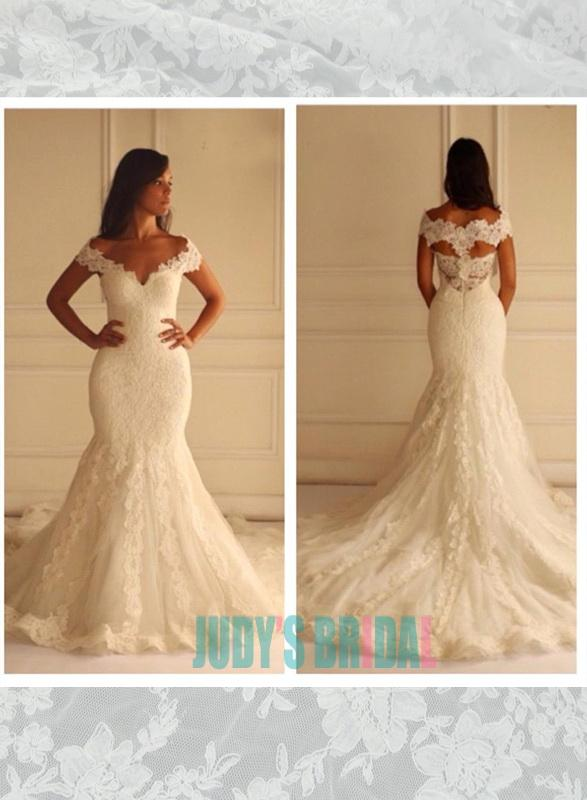 Off Shoulder Lace Fit Flare Mermaid Wedding Dress On