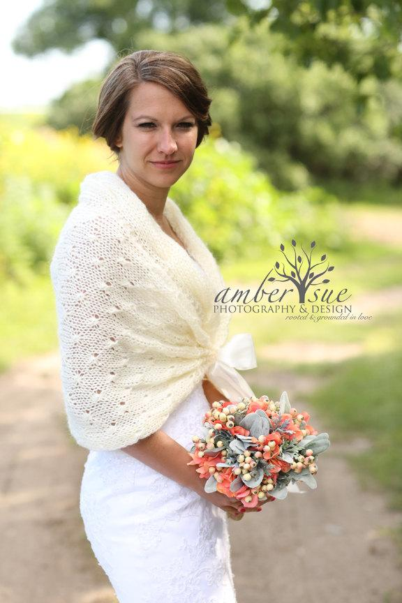 Bridal Shawl Wedding Shrug Ivory Winter Bolero Crochet Cover Up Wrap