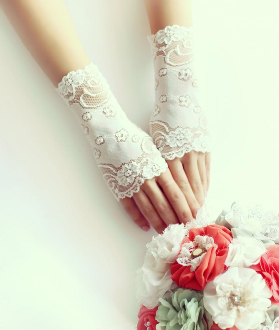 Lace Gloves Bridal Short Ivory Fingerless Free Shipping