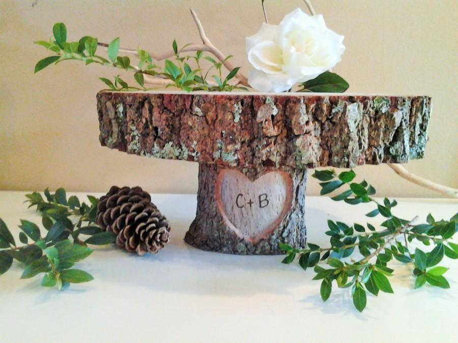 personalised tree trunk wedding cake stand treasury item 12 quot rustic wedding cake stand engraved 18224