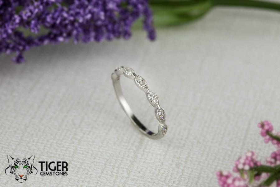 Art Deco Wedding Band 1 5mm Engagement Ring Half Eternity Vintage Style Man Made Diamond Simulants Sterling Silver