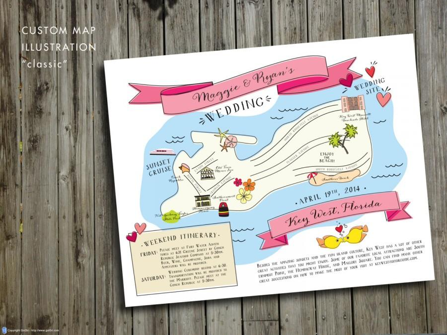 Custom Wedding Map Jpress Designs Travel Guest Guide Destination Save The Date Ilration Key West