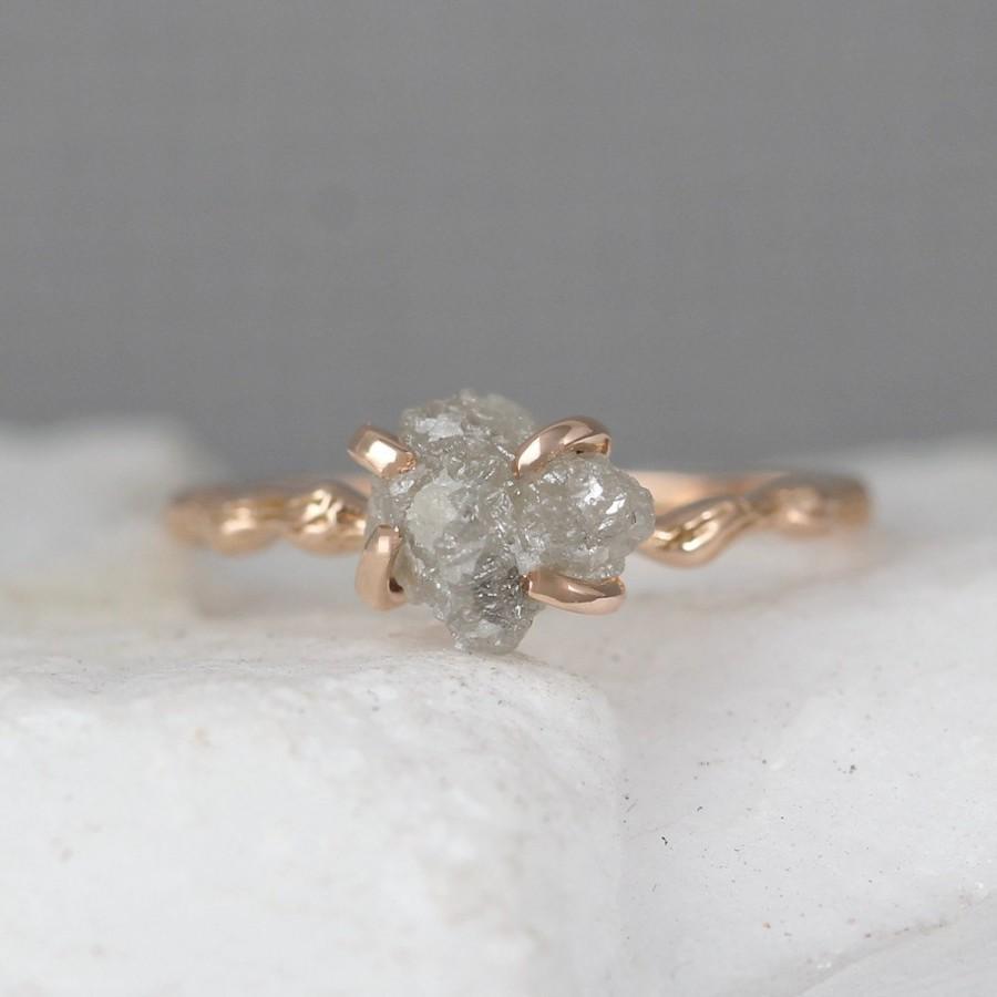Twig Engagement Ring 14k Rose Pink Gold Branch Rings Raw Uncut Rough Diamond Tree Wedding Woodland Inspired