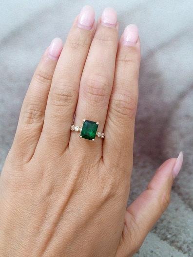 Statement Emerald Ring Rectangle Gold May Birthstone Engagement Diamond Bridal Gift