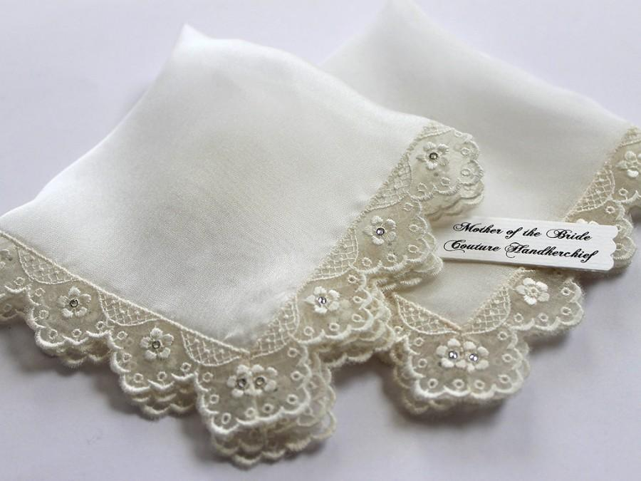 Mother Of The Bride Gift Set Wedding Handkerchief Silk Ivory Handkerchiefs Embroidery Lace Swarovski Hanky