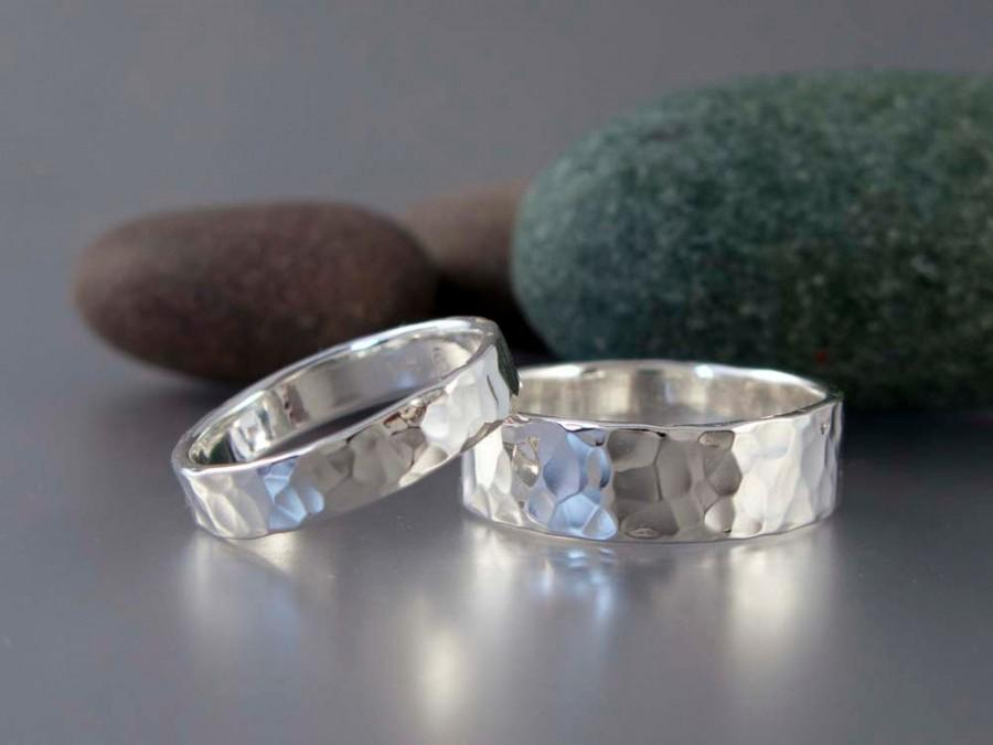 Hammered Sterling Silver Wedding Band Choice Of 2 To 8mm Wide Ring